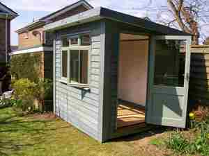 Blue Small Garden Office Room Door Open